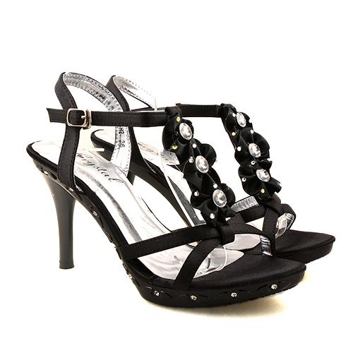 Sandale negre cu toc Foxie